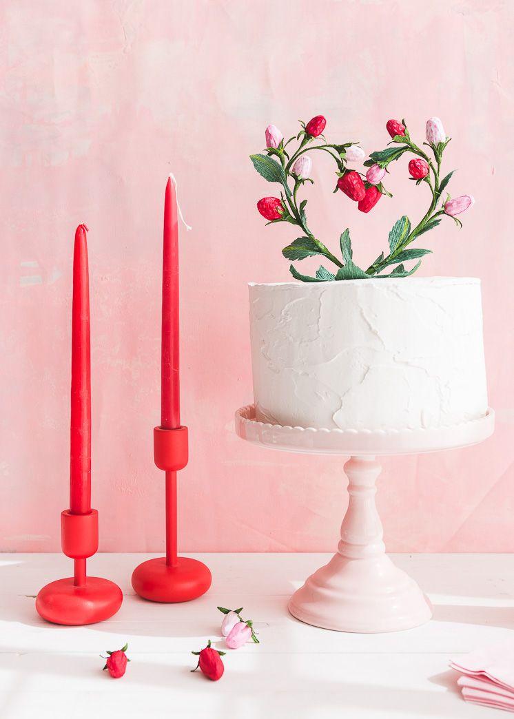 heart shaped cake topper bridal shower idea