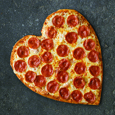 heart shaped pepperoni pizza