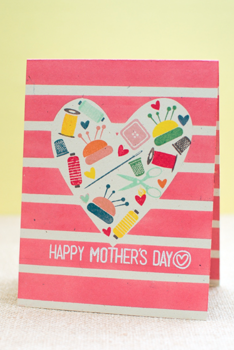 DIY Mother's Day Card - Heart Stamp Card