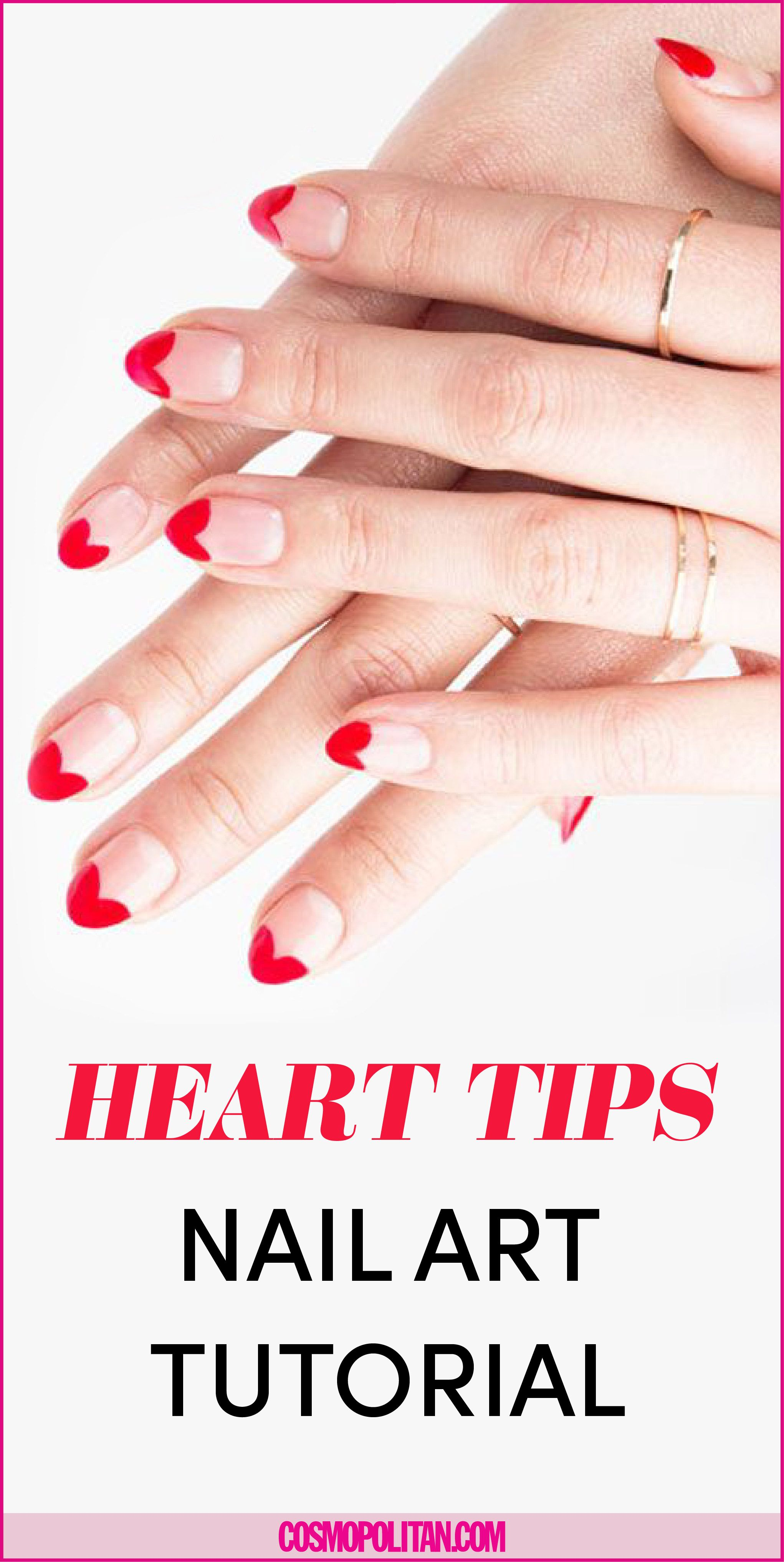 Valentine S Day Nail Art Heart Manicure Red Heart Nail Art Tutorial