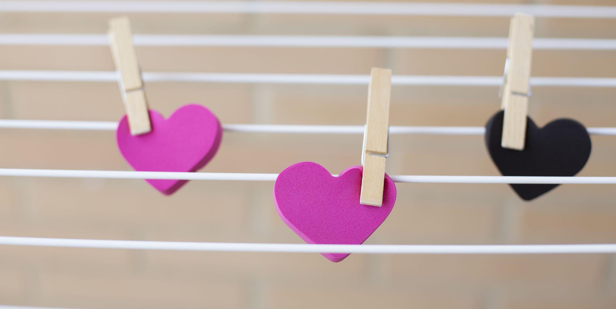 Hearts lying on a clothesline