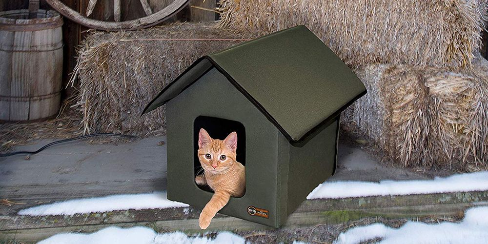 This heated cat house will keep outdoor kitties warm - Temperature to keep house in winter ...