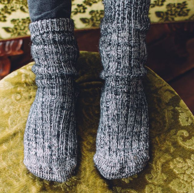 wool socks on ottoman