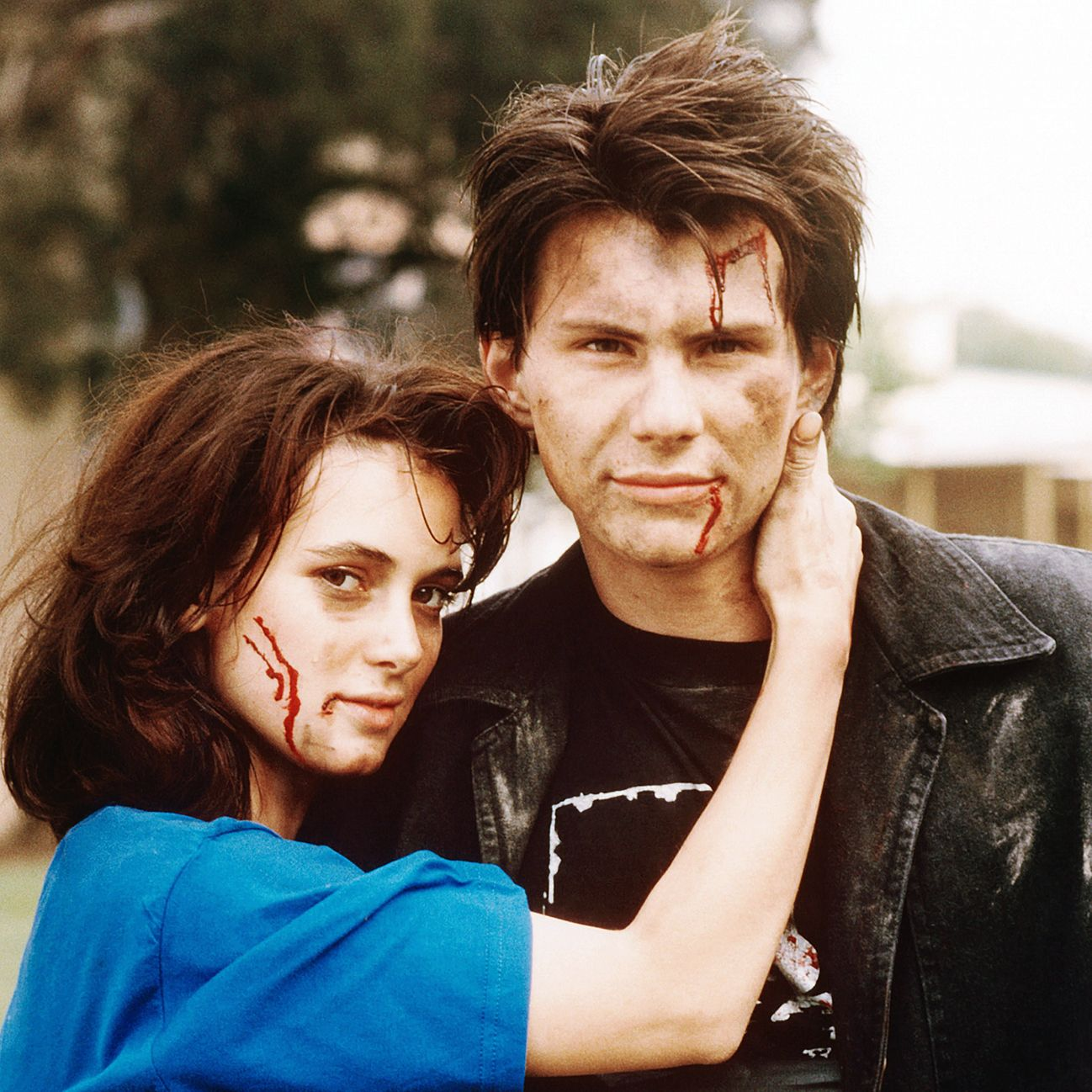Heathers Winona Ryder stars as the whip-smart Veronica Sawyer, a popular girl who hates her best friends (a trio of queen bees, all named Heather). Her life spins out of control when she falls for the new kid at school—the trench coat-wearing, gun-toting J.D., played by Christian Slater—who convinces her to kill off her clique
