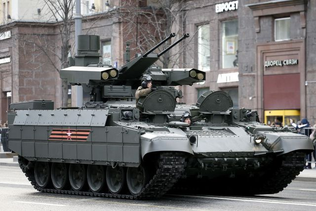 military hardware heads for red square for victory day military parade night rehearsal