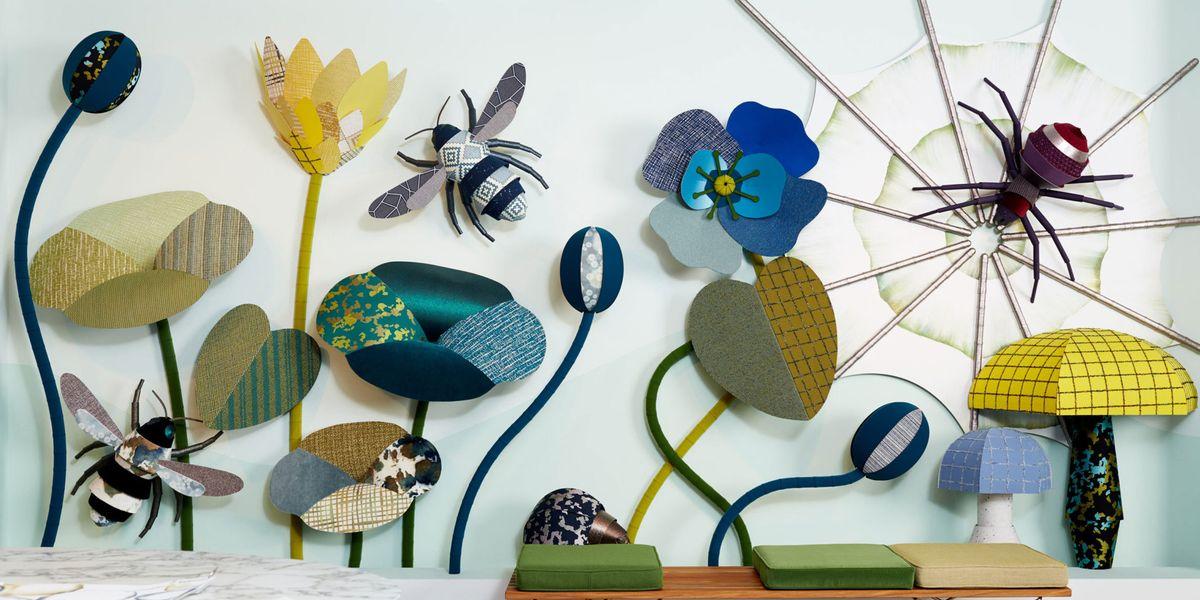 Gli insetti e i fiori di stoffa di heavy eyes con le carte for Stoffa da parati