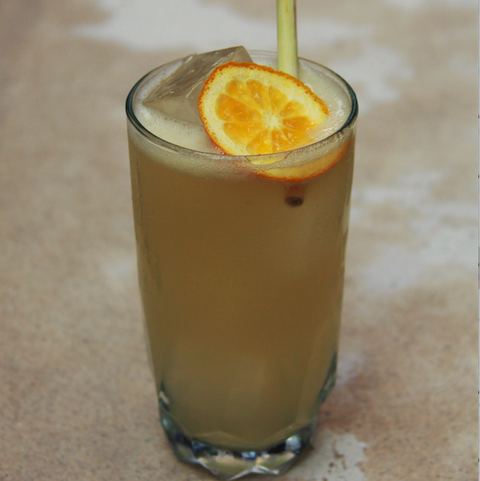 ginger beer cocktail, topped with orange slice and straw