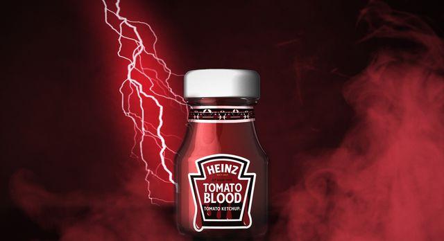 heinz ketchup tomato blood halloween packaging, lightening bold, blood label