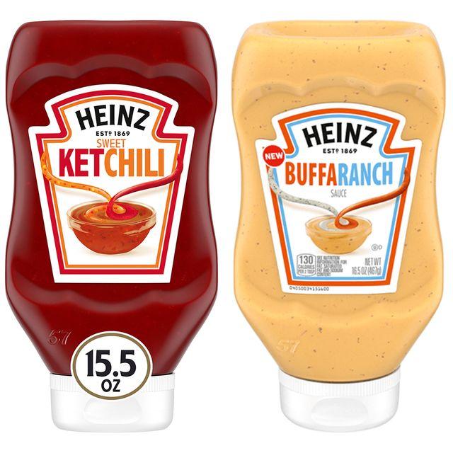 heinz sweet ketchili and buffaranch sauces condiments