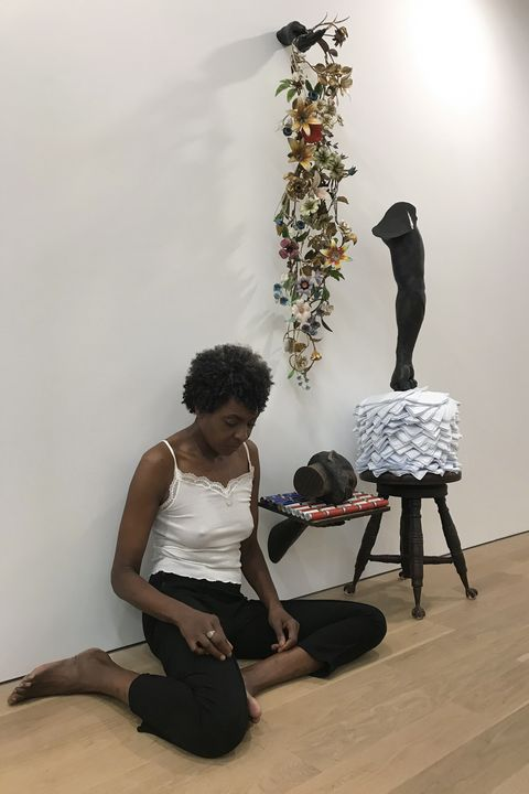 helga davis in conversation with a work by nick cave