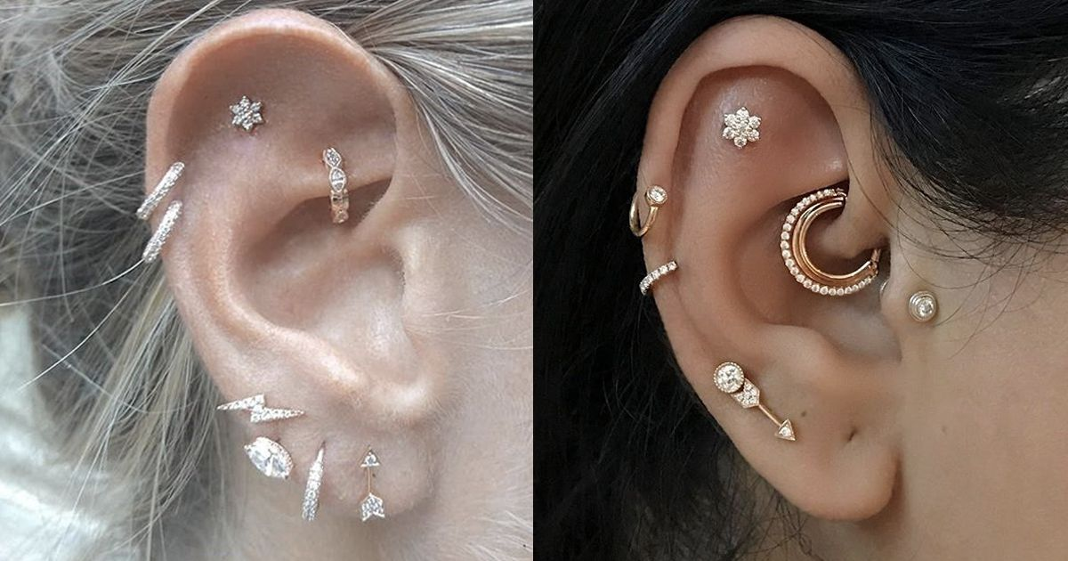 Gold Double Piercing Earring-Two Hole Earrings-Tiny Double Lobe Earrings-Rose Gold Double Post Earring-Double Piercings Earrings