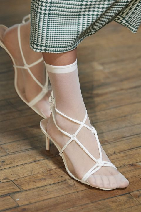 Footwear, White, Shoe, Leg, Sandal, Ankle, Fashion, High heels, Joint, Human leg,