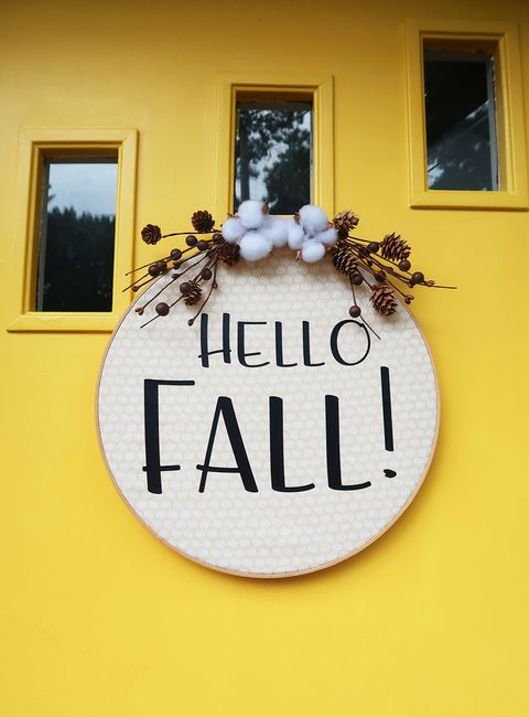 diy hello fall wreath door decoration
