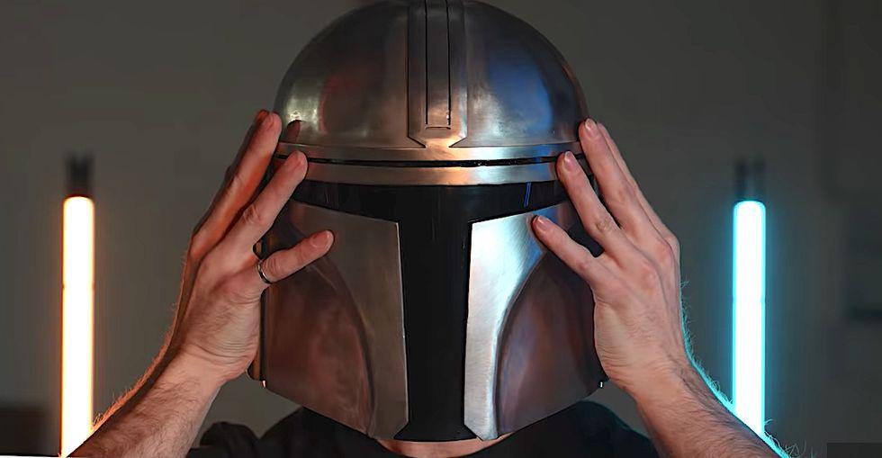 An Engineer Welded a Full Metal Replica of the 'Mandalorian' Helmet in His Garage