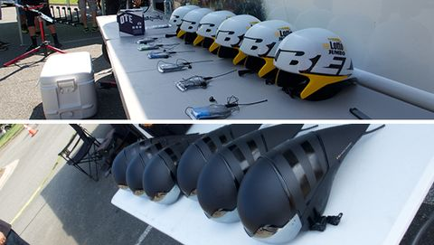 Helmets lined up and ready to go.