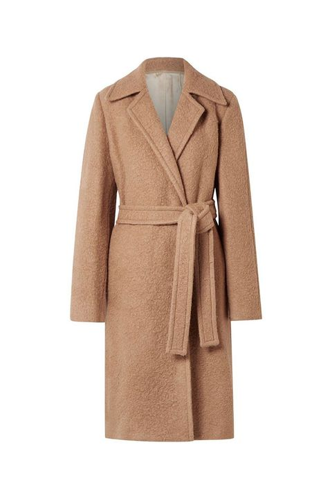 Clothing, Coat, Trench coat, Outerwear, Overcoat, Brown, Beige, Tan, Sleeve, Robe,