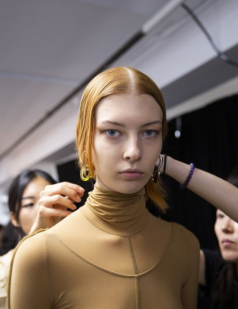 Hair, Face, Shoulder, Beauty, Mannequin, Head, Fashion, Skin, Hairstyle, Yellow,
