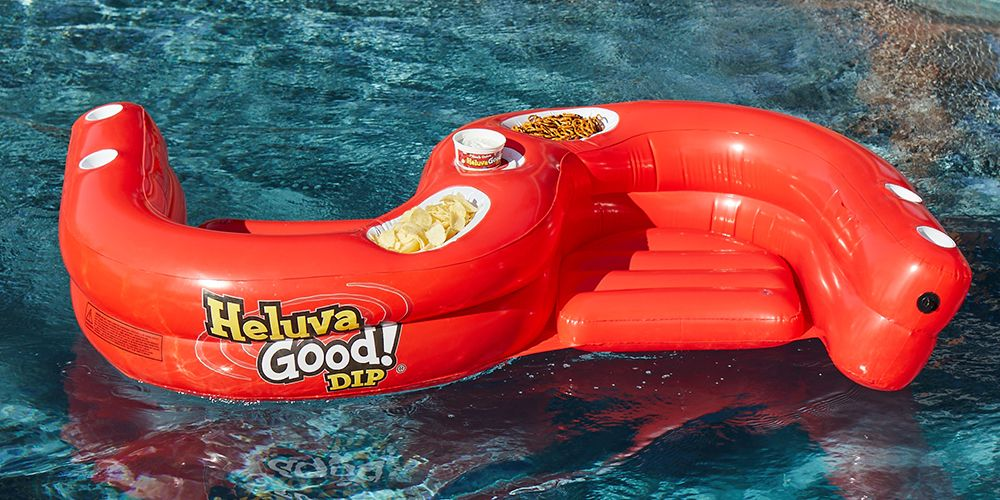 This Double Seated Pool Float Has Spots For Your Drinks