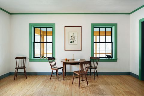 Room, Green, Furniture, Property, Interior design, Building, House, Floor, Table, Hardwood,