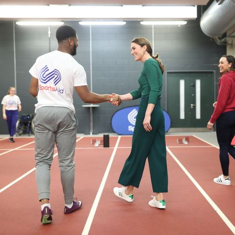 The Duchess Of Cambridge Visits London Stadium To Meet The Parents And Guardians Of SportsAid Stars