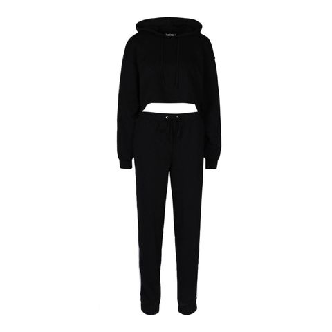 her contrast panelled crop hooded tracksuit