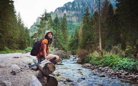 black woman hiking