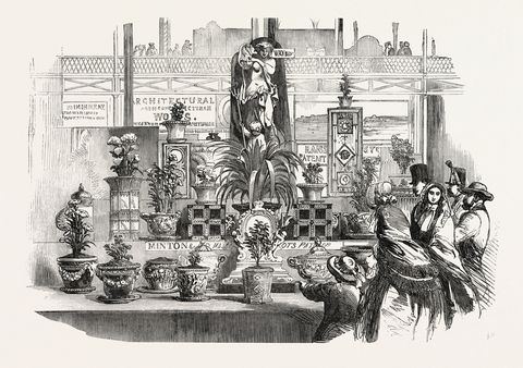 ddtdyt the great exhibition, crystal palace, hyde park, london, uk pottery, by messrs minton, 1851 engraving