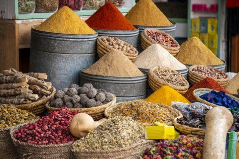 herbs and spice powder in marrakech market, marocco