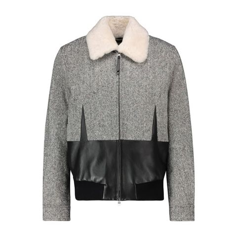 alexander mcqueen shearling trimmed paneled jacket