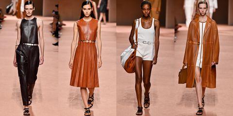Fashion model, Fashion, Clothing, Fashion show, Runway, Dress, Fashion design, Shoulder, Brown, Footwear,