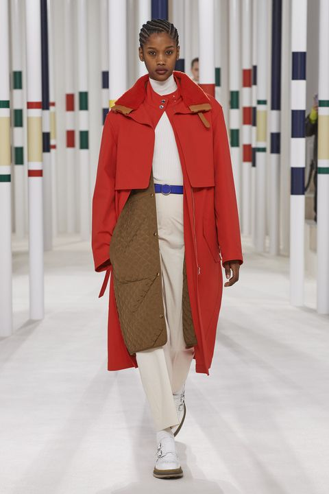 Fashion, Clothing, Red, Outerwear, Fashion show, Runway, Fashion design, Coat, Costume, Overcoat,