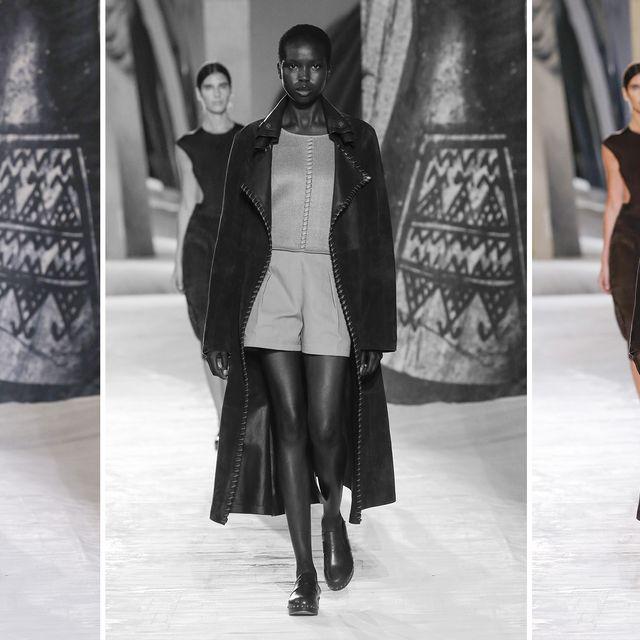 a model walks down the hérmes runway wearing clogs