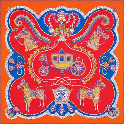 Hermès scarf red blue