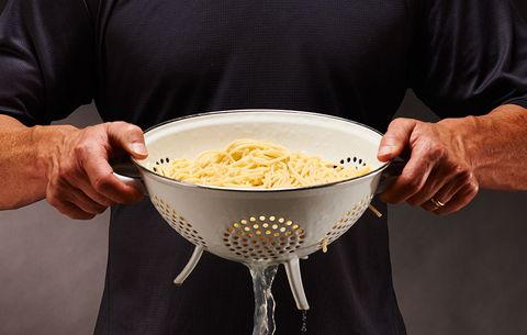 man holding pasta
