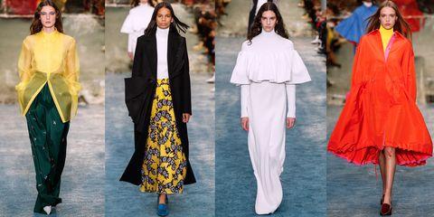 Clothing, Fashion, White, Yellow, Fashion model, Outerwear, Street fashion, Haute couture, Runway, Costume,
