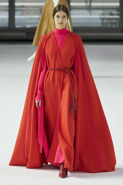 Clothing, Fashion, Fashion model, Haute couture, Fashion show, Outerwear, Pink, Fashion design, Magenta, Runway,