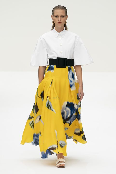 Fashion, Clothing, Runway, White, Fashion model, Fashion show, Yellow, Shoulder, Fashion design, Joint,