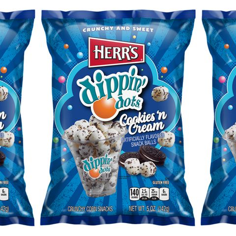 herr's and dippin' dots cookies 'n cream snack balls