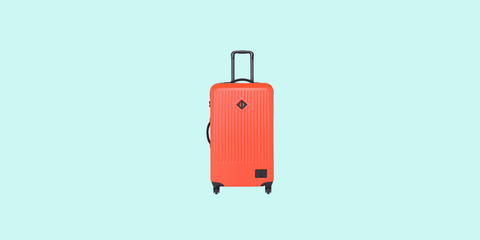 Suitcase, Hand luggage, Bag, Baggage, Luggage and bags, Orange, Rolling, Travel, Wheel,