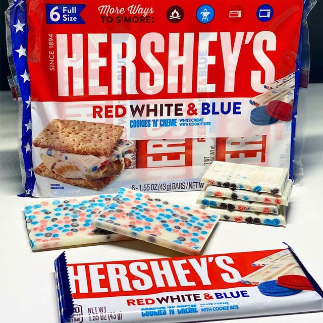 hershey's red, white, and blue cookies 'n' creme bar