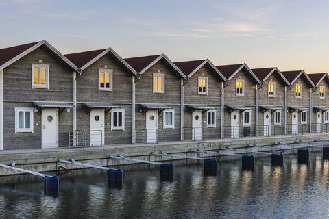 Row of huts on sea coast