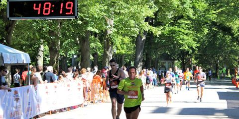 Dave McGillivray finishing the Heartbreak Hill 10K