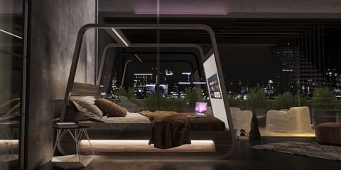 Couch, Automotive design, Room, Furniture, Interior design, House, Architecture, Night, Tree, Vehicle,