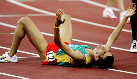 Hicham El Guerrouj of Morocco wins the Mens 5000m Final at the Athens Olympics o