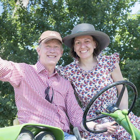 Democratic Presidential Candidate John Hickenlooper and his wife Robin Pringle