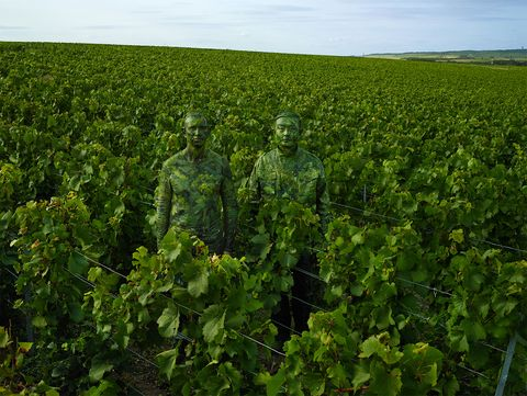 Hiding in the Vineyards with the Ruinart Cellar Master by Liu Bolin at Frieze Art Fair 2018