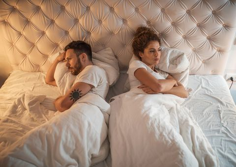 high angle view of a displeased couple in bed