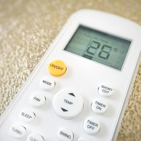 high angle view of air conditioner remote control