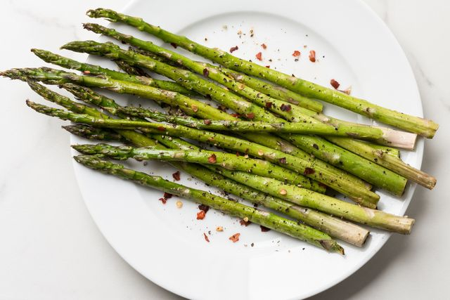 high angle view of asparagus in plate