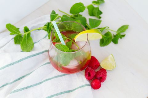 High Angle View Of Cocktail In Glass On Table